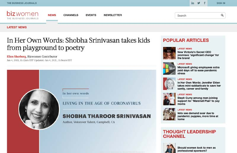 Shobha Srinivasan takes kids from playground to poetry Article